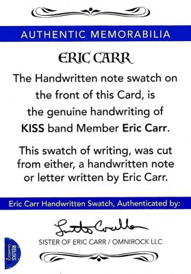 Handwritten note swatch Authentic Memorabilia